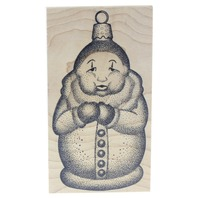 Stampa Barbara Cold Snowman Tree Ornament Wooden Rubber Stamp