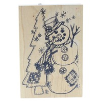 The Cottage Stamper Snowman with a Pine Tree Wooden Rubber Stamp