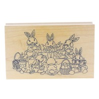 Art Impressions Easter Bunny Egg Painting Party Wooden Rubber Stamp