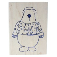 Imagine Rubber Works Polar Bear in His Sweater and Mittens Wooden Rubber Stamp