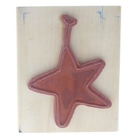 Anita's Star Ornament Hanging by a String Wooden Rubber Stamp