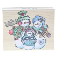 Hero Arts Snowman Family Welcome Winter Friends Wooden Rubber Stamp