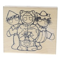 Trick or Treat Trio JRL Design Happy Halloween Wooden Rubber Stamp