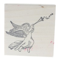 Stamp Allah Precious Moments Musical Angel with a Horn Wooden Rubber Stamp