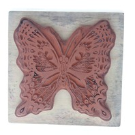 PSX G-055  Fancy Ornate Moth Monarch Butterfly Wooden Rubber Stamp