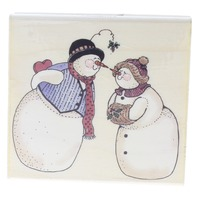 Uptown Rubber Stamps Snowman and Snow Woman Kissing Wooden Rubber Stamp