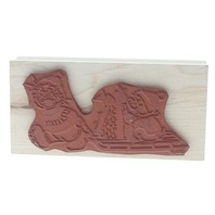Suzy's Zoo Rubber Stampede Ducks with a Sled Wooden Rubber Stamp