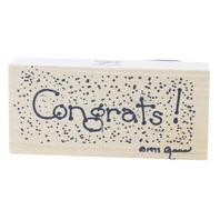 Simply Designs Congrats Congratulations Confetti  Wooden Rubber Stamp