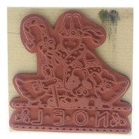 Daisy Kingdom Noel Bunny Sheep and Ducks Holiday Greeting Wooden Rubber Stamp