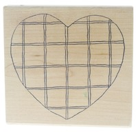 Azadie Earles Plaid Heart M409 Wooden Rubber Stamp
