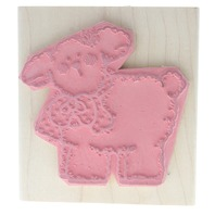 Fluffy Lenny Lamb  Dots Wooden Rubber Stamp