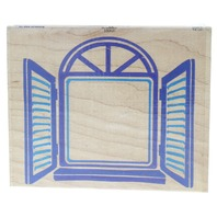 Stamps Happen Post Impressions Window with Shutters Wooden Rubber Stamp