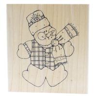 Large Joyful Snowman Wooden Rubber Stamp