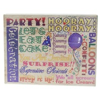 Stampendous Celebration Collage Block Party Cake Birthday Wooden Rubber Stamp
