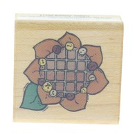 Comotion Patchwork Sunflower with Buttons #805 Wooden Rubber Stamp