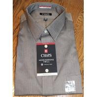 Chaps Mens XL Grey Herringbone Longsleeve Shirt 17-175 34/35 Wrinkle free
