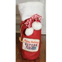 Happy Holidays Florida Gators Fan Santa Drawstring Holiday Wine Gift Sack Bag