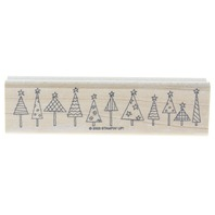 Stampin Up Whimsical Christmas Tree Border 2003 Wooden Rubber Stamp