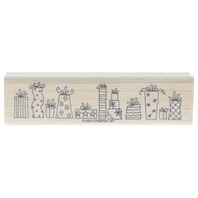 Stampin Up Whimsical Birthday Chrismas Gift Present Border 2003 Wooden Rubber Stamp