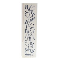 Stampin Up Happy Birthday Verticle Balloons 2001 Wooden Rubber Stamp