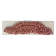 Hero Arts Just saying Hello Heart and Pansy Swag Border Wooden Rubber Stamp
