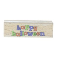 Fun Whimsical Happy Halloween Words Writing Lower Case Wooden Rubber Stamp