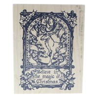 PSX Believe in the Magic of Christmas Stag Deer Rustic Wooden Rubber Stamp