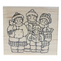 Family of Merry Carolers JRL Design R165 Wooden Rubber Stamp