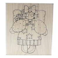 Dots Whimsical Angel with a Star Dress Miss July Betsy Wooden Rubber Stamp
