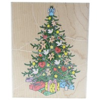 Hero Arts Super Christmas Tree with Gifts Wooden Rubber Stamp