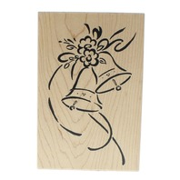 Great Impressions Wedding Bells and flower with streamers Wooden Rubber Stamp