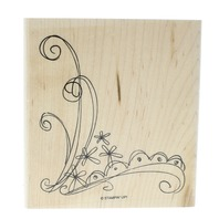 Stampin Up Corner Swirl Border with Flowers Wooden Rubber Stamp