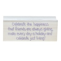 Hero Arts Celebrate just Living with Friends Words Writing Wooden Rubber Stamp