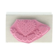 Heart with floral Swag Wooden Rubber Stamp