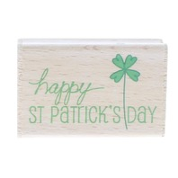 Happy st. Patrick's Day Four Leaf Clover Wooden Rubber Stamp