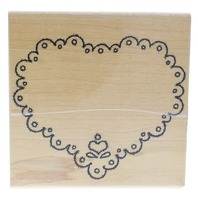 Annette Allen Watkins 1995 Heart Doily J1405 Wooden Rubber Stamp