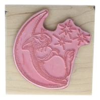 Moon Snoozing Bunny Rabbit on the Moon with Stars Wooden Rubber Stamp