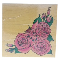 Stamps Happen Embossing Arts 1999 Rose Corner Border Wooden Rubber Stamp