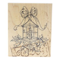 Art Impressions Lantern, Holly Berries Wooden Rubber Stamp