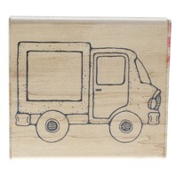 Dots Delivery Truck with Frame Window Wooden Rubber Stamp