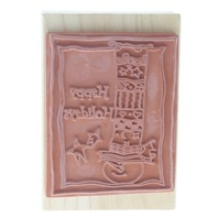 Rubber Stampede Happy Holidays Snowman Wooden Rubber Stamp