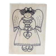 Stitched Angel with a Heart Locket Wooden Rubber Stamp