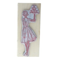 Mara-Mi Hampton Art Stamps Hostess with Drink Tray Wooden Rubber Stamp