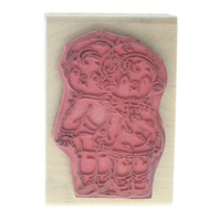 Campbell Kids Stand Tall Back to Back Kids Wooden Rubber Stamp