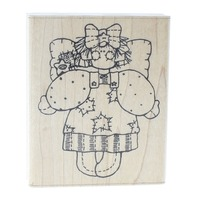 Dots Miss July Angel with patchwork star dress Wooden Rubber Stamp