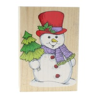 Hero Arts Jumbo Winter Snowman and Tree H861 Wooden Rubber Stamp