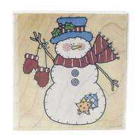 Penny Black Patchwork Snowman with Mittens  Wooden Rubber Stamp