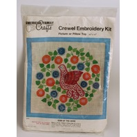 Vintage Crewel Embroidery Kit American Family Crafts Sign of the Dove Flowers