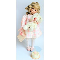 Katie Heritage Dolls Porcelain Doll Birthday Cake and Bunny Friend