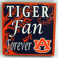 Tiger Fan Forever Welcome Wooden Distressed College Square Sign